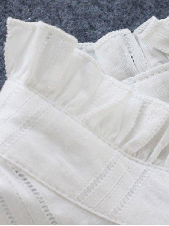 Long Sleeve Ruffle Collar Shirt Dress - WHITE ONE SIZE Mobile