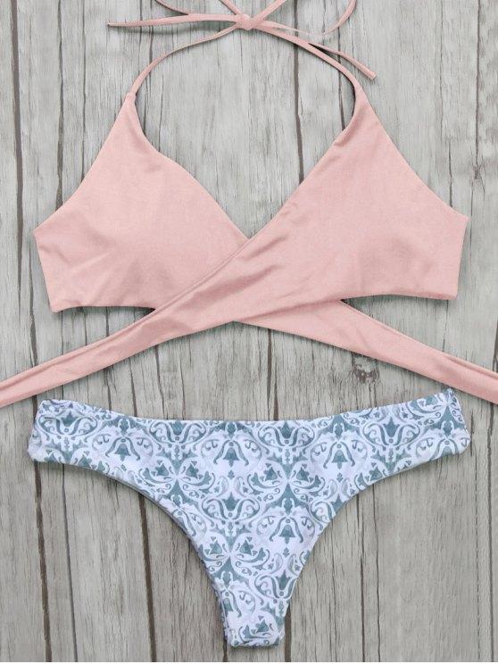 hot Wrap Bikini Top and Baroque Bottoms - PINK L