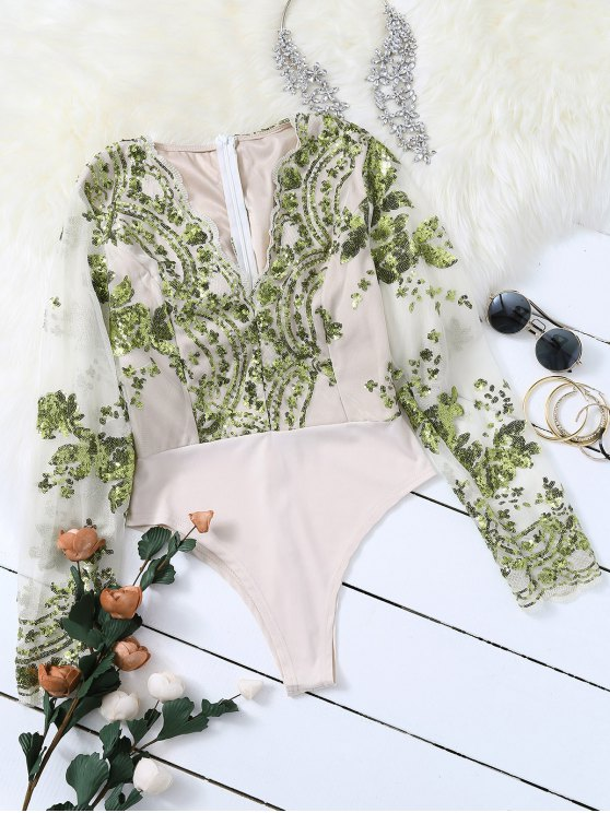 outfits Long Sleeve Sequins Bodysuit - GREEN M