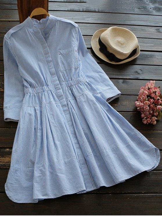 robe rayé en couleur bleue et blache en lin à manches longues et à col de chemise - Bleu et Blanc S