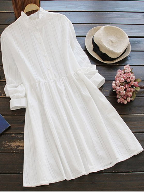 Vestido Camisero con Cuello Fruncido con Manga Larga - Blanco Única Talla