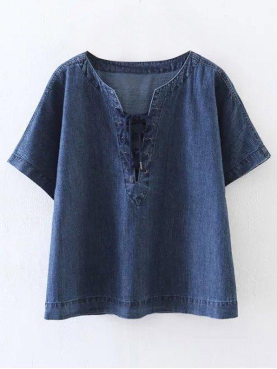 hot Lace-Up Denim T-Shirt - BLUE S