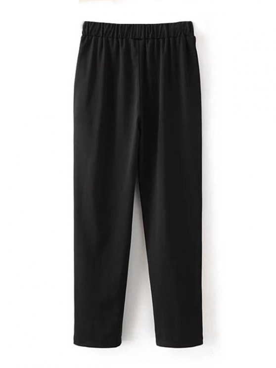 Color Block Drawstring Pants - BLACK L Mobile