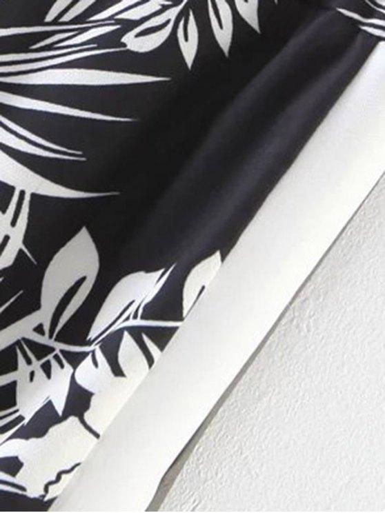 Chiffon Floral Wide Leg Pants - BLACK L Mobile