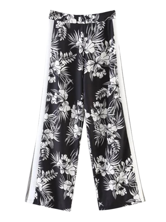 fashion Chiffon Floral Wide Leg Pants - BLACK S