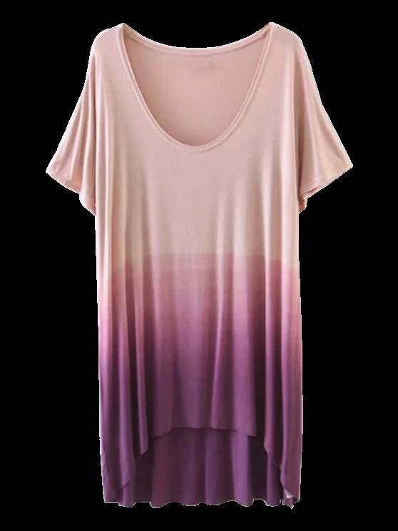 shop Ombre High Low T-Shirt - PURPLE S