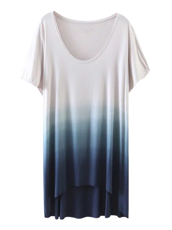 hot Ombre High Low T-Shirt - BLUE S