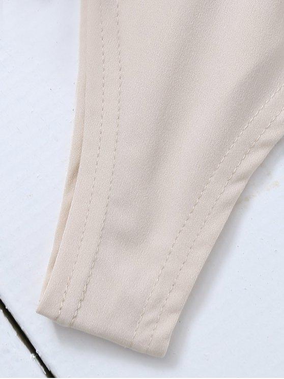 Long Sleeve Sequins Bodysuit - WHITE M Mobile