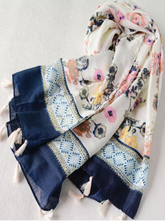 Tassel Geometric Floral Printed Scarf - OFF-WHITE  Mobile