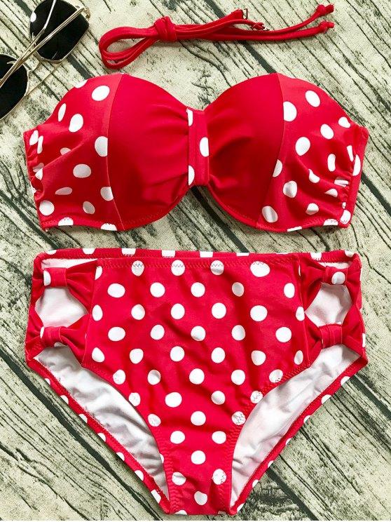 Cut Out Polka Dot Bikini Set - RED XL Mobile
