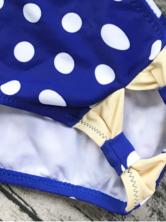 Cut Out Polka Dot Bikini Set - BLUE 2XL Mobile