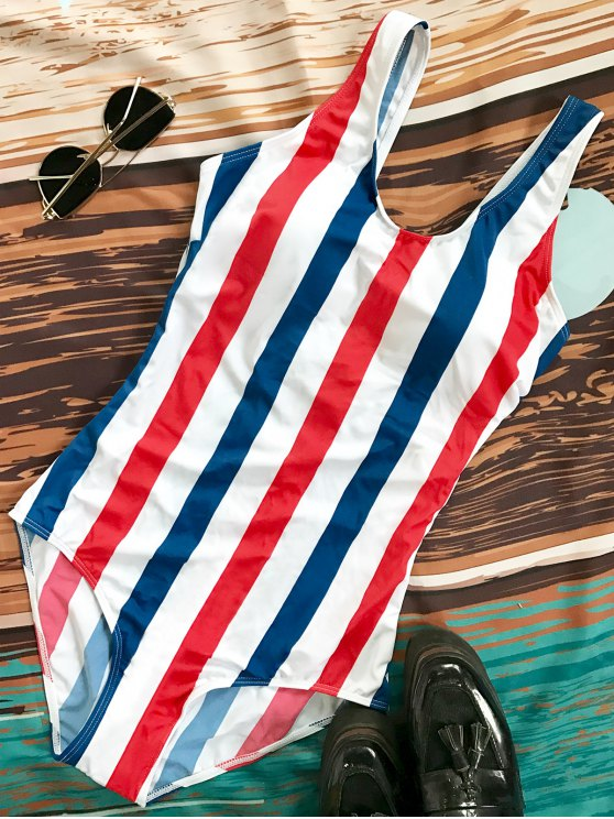 Lace Up Stripes Swimwear - BLUE AND RED S Mobile