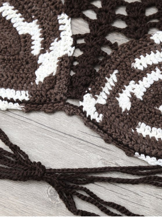 Crochet Color Block Bikini - DUN ONE SIZE Mobile