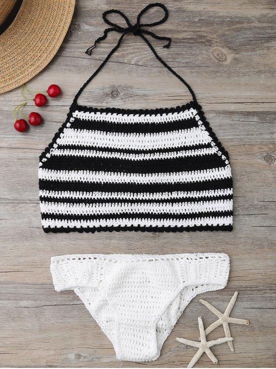 High Neck Stripe Crochet Bikini Set - BLACK ONE SIZE Mobile