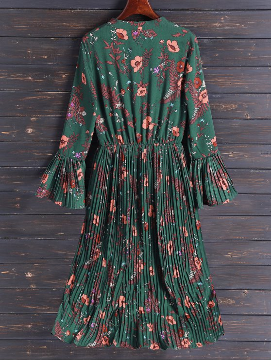 Pleated Flare Sleeve Floral Midi Dress - ARMY GREEN L Mobile