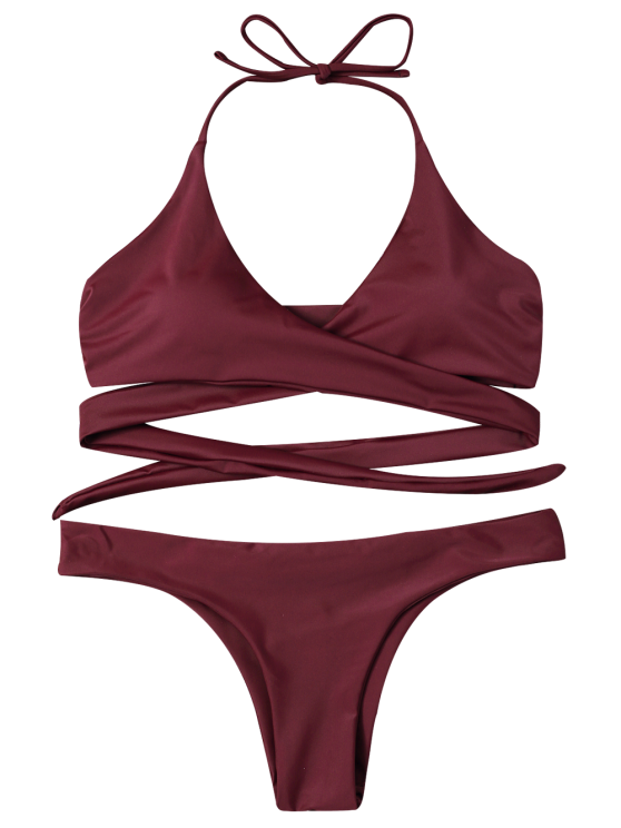Wrap Tie Crossover Bikini - BURGUNDY S Mobile