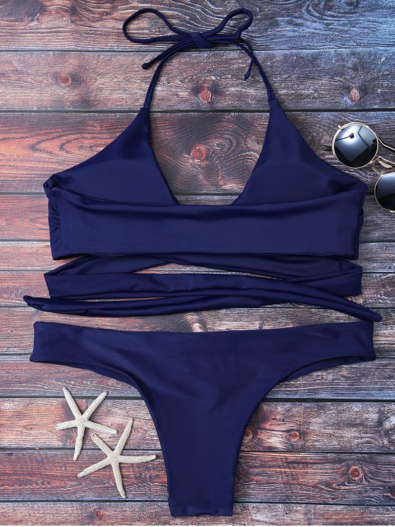Wrap Tie Crossover Bikini - BLUE 2XL Mobile