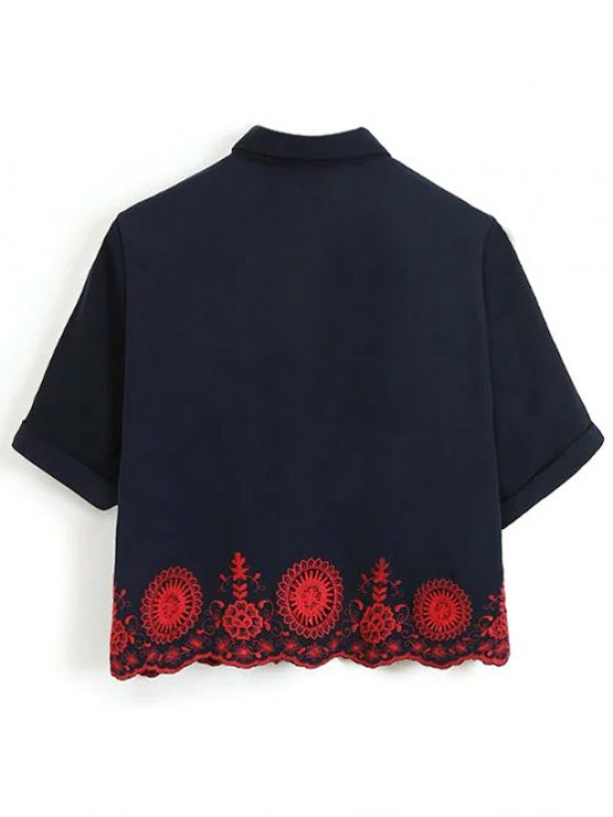 Embroidered Hollow Out Scalloped Shirt - PURPLISH BLUE L Mobile