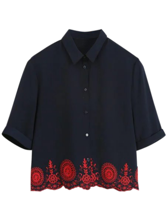 fancy Embroidered Hollow Out Scalloped Shirt - PURPLISH BLUE M