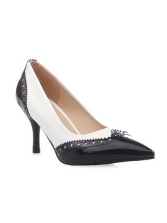 Patent Leather Engraving Pumps - White 37