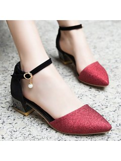 Glitter Two Piece Faux Pearl Pumps - Wine Red 38