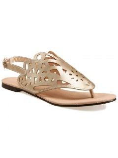 Hollow Out Flat Heel Sandals - Golden 38