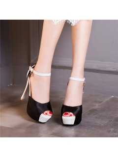 Platform Peep Toe Sandals - Black 39
