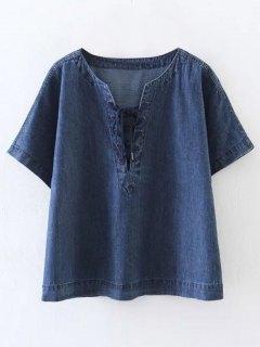 Lace-Up Denim T-Shirt - Blue S