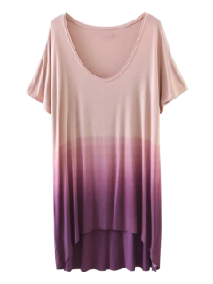 Ombre High Low T-Shirt - Purple S