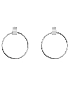 Circle Hollow Out Earrings - Silver