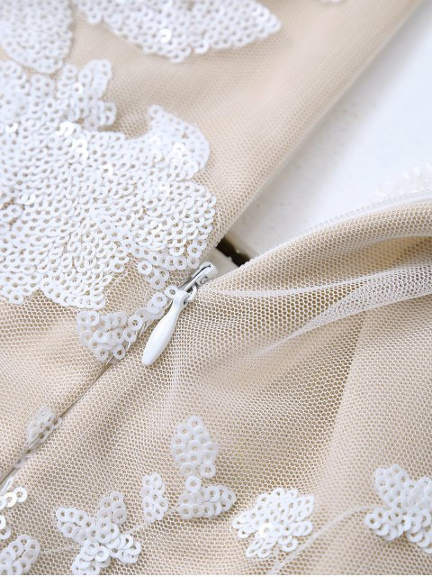 ladies Long Sleeve Sequins Bodysuit - WHITE S Mobile