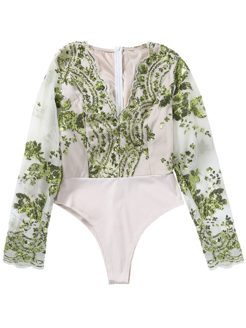 outfits Long Sleeve Sequins Bodysuit - GREEN M Mobile