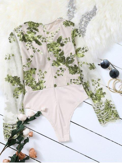 shop Long Sleeve Sequins Bodysuit - GREEN S Mobile