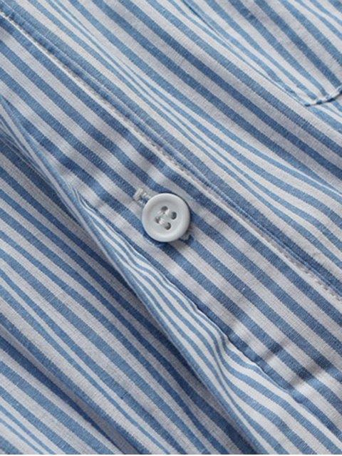 trendy Striped Linen Blend Shirt Dress - BLUE AND WHITE L Mobile