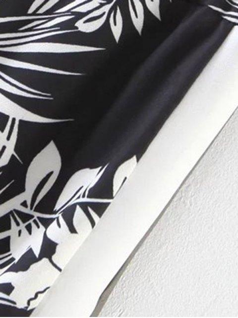 trendy Chiffon Floral Wide Leg Pants - BLACK M Mobile