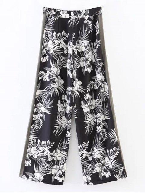 fashion Chiffon Floral Wide Leg Pants - BLACK S Mobile