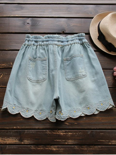 trendy Elasticated Embroidered Denim Shorts - LIGHT BLUE ONE SIZE Mobile