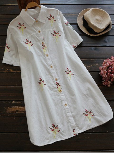 sale Embroidered Cotton Shirt Dress - WHITE S Mobile