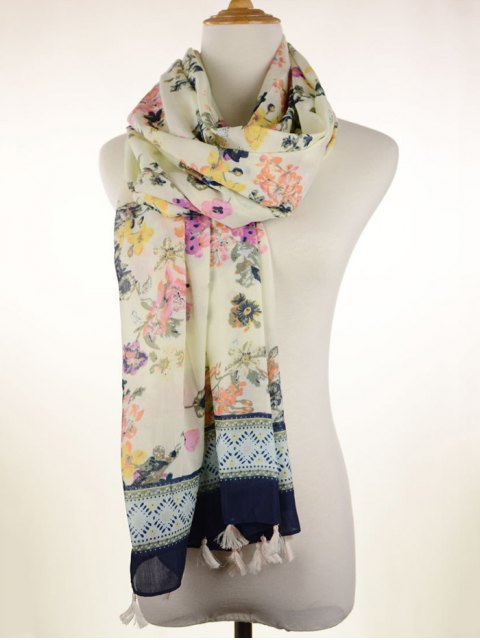 unique Tassel Geometric Floral Printed Scarf - OFF-WHITE  Mobile