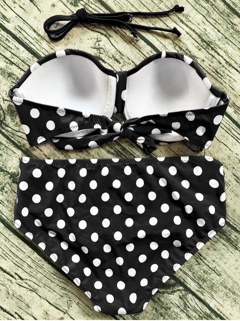 lady Cut Out Polka Dot Bikini Set - BLACK L Mobile