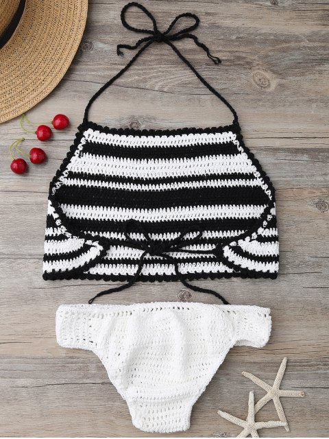 fancy High Neck Stripe Crochet Bikini Set - BLACK ONE SIZE Mobile