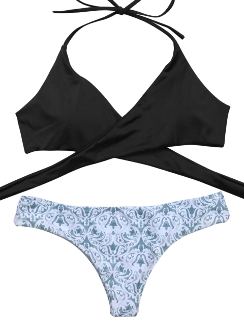 new Wrap Bikini Top and Baroque Bottoms - WHITE AND BLACK S Mobile