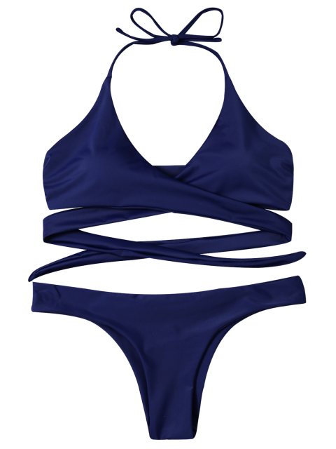 women's Wrap Tie Crossover Bikini - BLUE XL Mobile