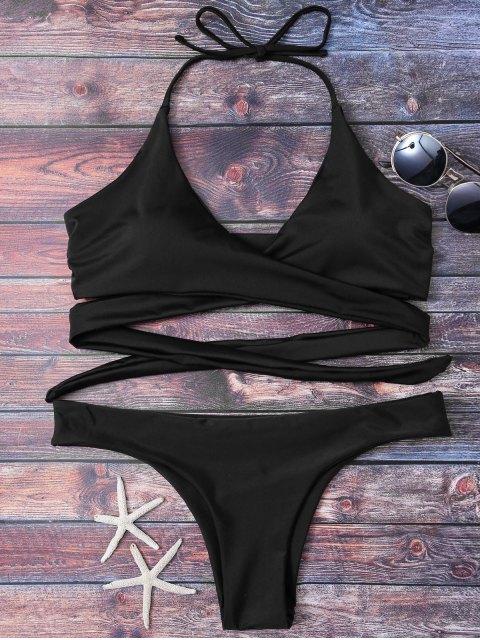 outfit Wrap Tie Crossover Bikini - BLACK M Mobile