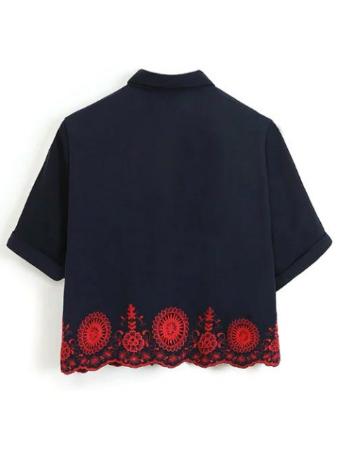 chic Embroidered Hollow Out Scalloped Shirt - PURPLISH BLUE L Mobile