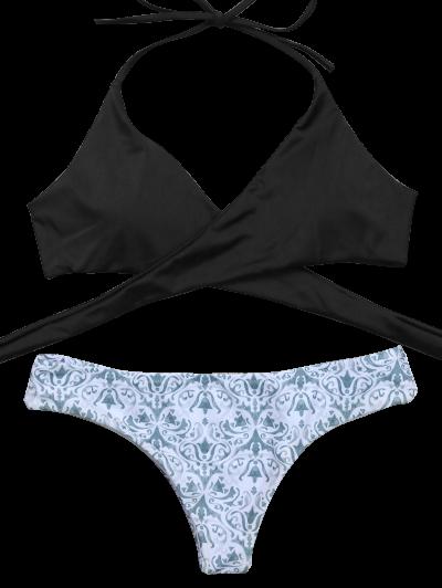 Wrap Bikini Top and Baroque Bottoms - WHITE AND BLACK S Mobile