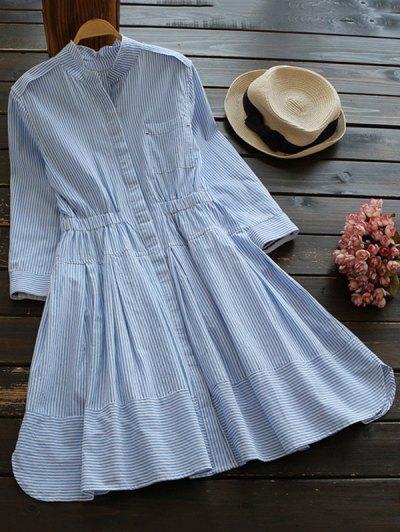Striped Linen Blend Shirt Dress - Blue And White