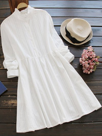 Long Sleeve Ruffle Collar Shirt Dress - White