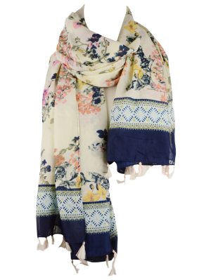 Tassel Geometric Floral Printed Scarf - Off-white