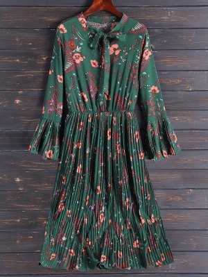 Pleated Flare Sleeve Floral Midi Dress - Army Green